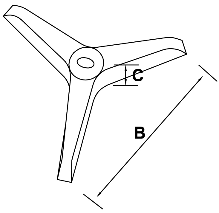 podstawa żeliwna trójnożna lakierowana - schemat