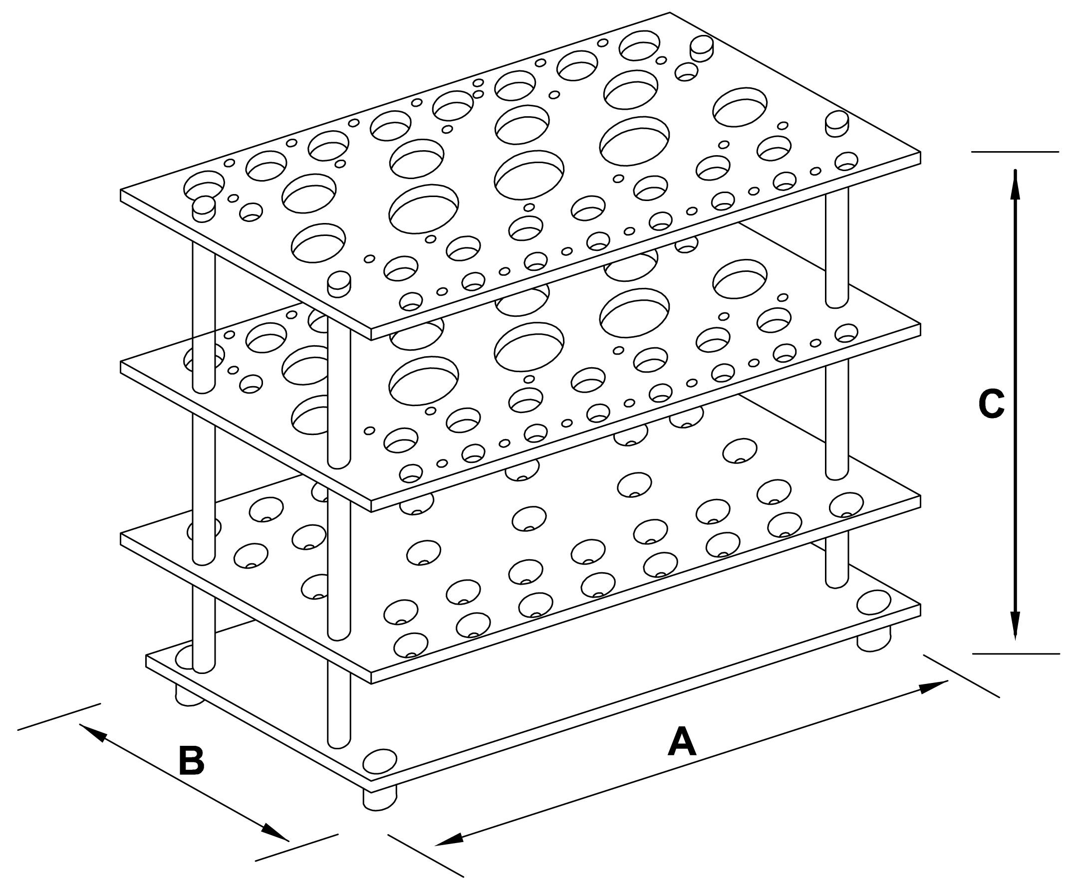 statywy do pipet szklanych - schemat