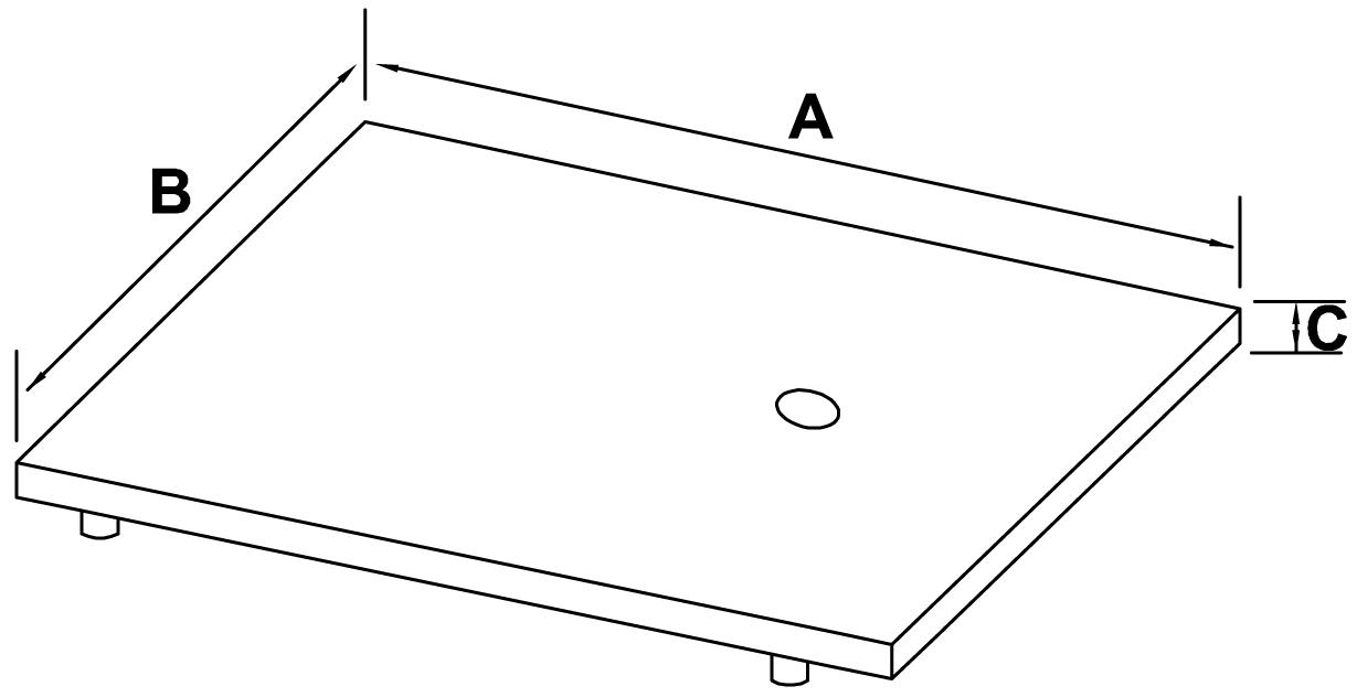podstawa stalowa prostokątna nierdzewna - schemat