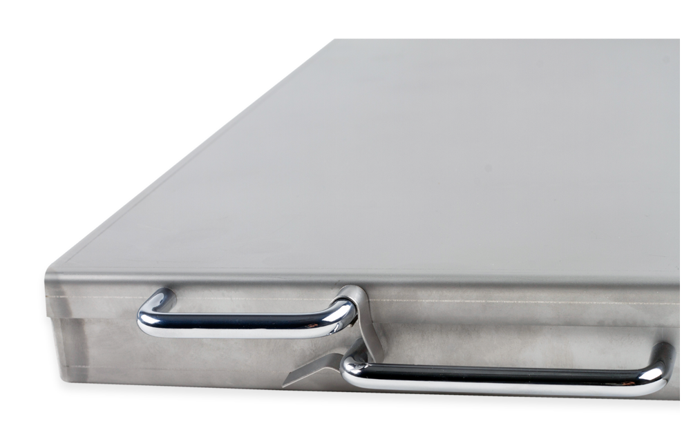 stainless steel tray with a cover and compartments for 50 fields - zdjęcie 3